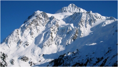 Northwest side of Mount Shuksan as seen from Mt. Baker ski area.