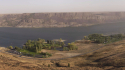 Panorama overlooking Steamboat Rock State Park as a dust storm begins to blow through.