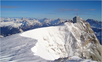 Marmolada's Punta Rocca from below the true summit.
