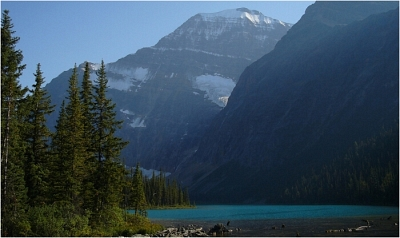 Mount Edith Cavell as seen from Cavell Lake.