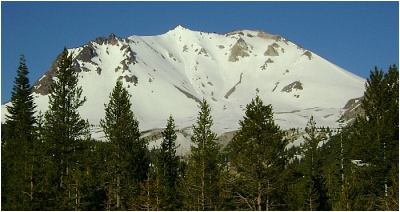 North side of Lassen Peak as seen from the parking/picnic area near gated road end.
