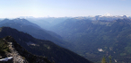 Summit panorama looking up Little Wenatchee River Valley.