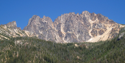 Silverstar Massif with Burgundy Spire at left as seen from the North Cascades Highway. Route overlay in red.