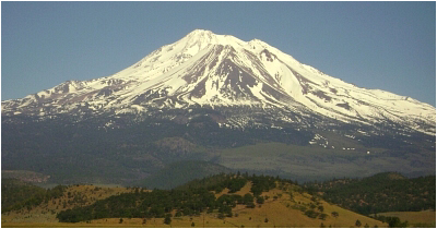 Mount Shasta as seen from near the town of Weed, CA.