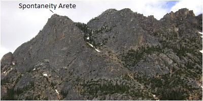 Spontenaety Arete (at left) as seen from hwy 20.