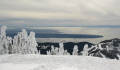 A flotilla of container ships as seen from Cypress Mountain.